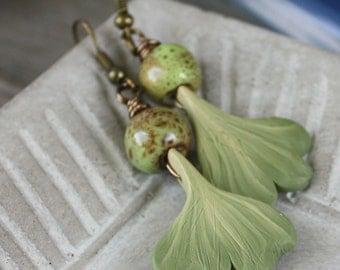 Ginkgo Earrings - Polymer Clay and Ceramic - Antiqued Brass Findings, polymer earrings, clay earrings, polymer jewelry, clay jewelry