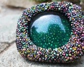 Macbeth, ooak adjustable polystyrene and glass ring, in green hues