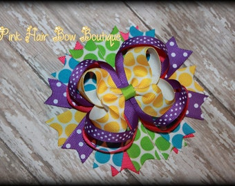 Colorful and Bright Hair Bow - Boutique Summer Hair bow - 5 inch Hair Bow - Summer Hair Bow - Hair Bows for girls  - School Hair Bow
