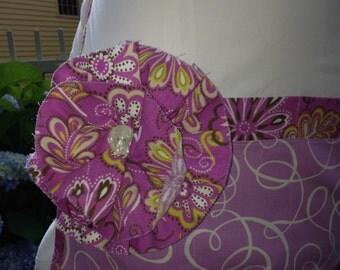 Half apron 3 pockets with flower, lavender, waitress, vendor, craft, nurse or hostess gift, gift, Easter, Mother's day