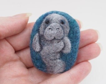 Needle Felted Miniature Animal, Manatee Magnet.