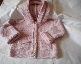 Alpaca Silk 8 ply DK Pink Hooded Jacket  / Sweater Age 1 -  2 Years  Hand Knitted in Scotland