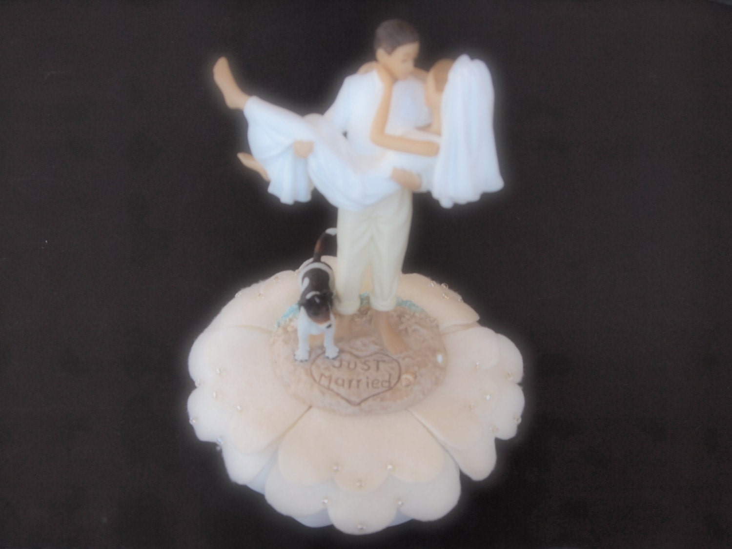 Cake Topper Wedding Ivory Bride and Groom Dog by