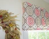 Coral Window Valance - Window Valance - 52 x 16 Valance - Window Treatment - Nyle Coral/Brown Window Valance with Ruffled Top