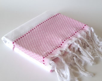 Turkish Bath Towel: Peshtemal, Natural cotton, Home Living, Bath Body, Beach, Spa, guest towel, soft cotton, pink, Mother's day gift ,
