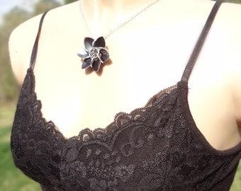 Gothic Black Dragonscale Flower Halloween Necklace