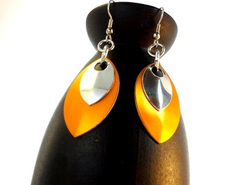 Orange And Silver Dragon Scale Earrings Inspired By Game Of Thrones