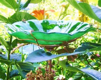 BIRTHDAY Gift, BIRDBATH, Stained Glass, Green, Copper, Home Decor, Garden Art, Bird Feeder, Suncatcher
