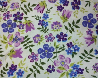 SALE - rosy periwinkle and tulip, 1/2 yard, pure cotton fabric