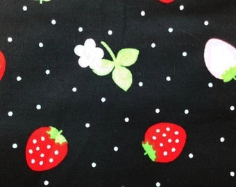 Strawberry and flower, black, fat quarter, pure cotton fabric