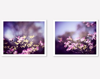 Purple Floral Photography, 2 Pink Dark Lavender Art Prints, Two Dogwood Flower Pictures, Plum Nature Decor, Purple Pink Wall Art Photos