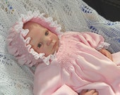 Pink Striped -  Smocked day gown and bonnet