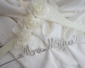Ivory Or White Flowers Bride Hanger, Custom Floral Hanger, Quality Durable Script