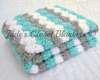 Crochet Baby Blanket, Baby Blanket, White, Grey, and Blue, crib size