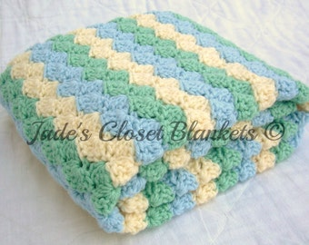 Crochet Baby Blanket, Ocean Dream, Sky Blue, Soft Sage, and Cream, travel size