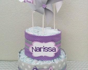Diaper cake.  Owl theme Diaper Cake.  Pampers Diaper cake.  Girl's diaper cake.  Pinwheel diaper cake.  Custom Diaper Cake