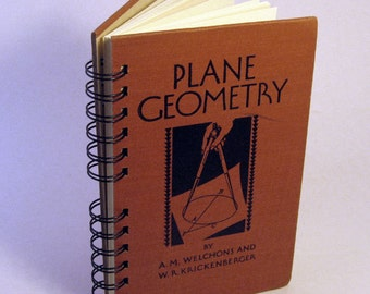 1938 PLANE GEOMETRY TEXTBOOK Handmade Journal Vintage Upcycled Book Vintage Math Textbook