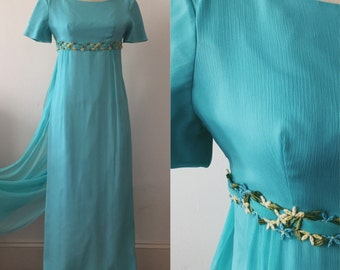 1960s Gown / 60s Empire Dress in Turquoise Chiffon Over Taffeta / Lorrie Deb San Francisco