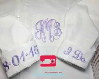 Bridal Party Shirt - Monogrammed Button Down Wedding Day Shirt - 13 Colors - XS-6XL
