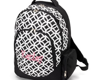 Backpack - Sadie Black Geometric - Back to School - Closeout Clearance - While Supplies Last