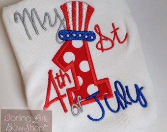 Baby Girl and Boy bodysuit for 4th of July -- My 1st 4th of July - red, white and blue- Newborn take home bodysuit