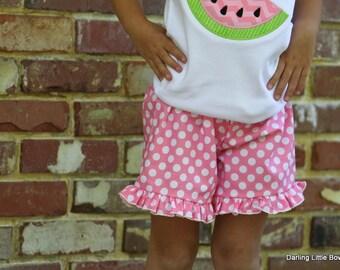 Ruffle Shorts -- Girls pink polka dot ruffle pants for Summer and birthdays -- pink polka dot -- sizes 6 month through 8