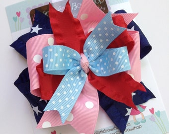Hairbow for 4th of July and Summer -- Sail Away -- navy, red, pink and light blue to match our madras sailboat outfit
