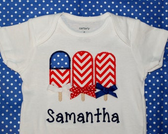 Personalized Applique Fourth of July Popsicles onesie or tshirt