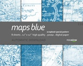"Digital Paper + 114_Maps Blue + Scrapbook Quality Paper Pack  (12x12""- 300 dpi)  8 sheet pack paper  + Instant Download +"
