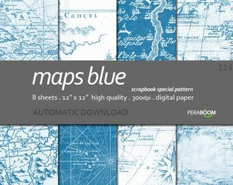 "Digital Paper + 114_Maps Blue + Scrapbook Quality Paper Pack  (12x12""- 300 dpi)  8 sheet pack paper  + Instant Download +"