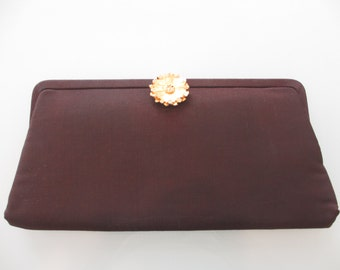 Vintage Chocolate Brown Clutch with Gold Flower Clasp