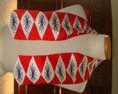 Vintage Vera Neumann Scarf Collar Red Blue White Rectangle Very Early Silk Pat Pending Rhinestones