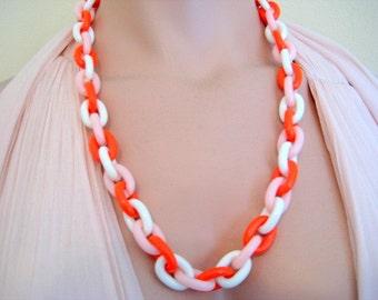 Crown Trifari Plastic Link Necklace Orange Pink and White Vintage 1950's