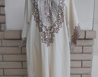 70s Embroidered Caftan Dress Ethnic Bell Sleeve Boho Maxi by Leandra Crochet Size XL