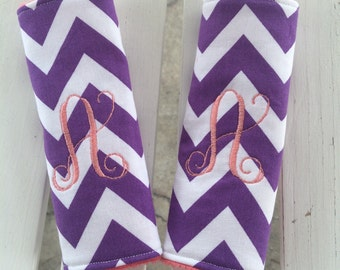 Personalized car seat strap covers reversible chevron/minky strap covers