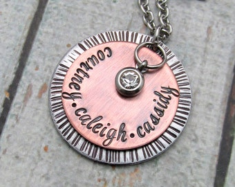 Hand Stamped Jewelry for Mom - Personalized Necklace - Mom Necklace - Mixed Metal with Cold Connections - personalized jewelry for mom