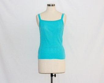 Vintage Bright Turquoise Knitted Camisole