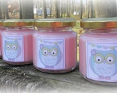 Lilac Owl Baby Shower Favor Candle, Owl Themed Shower Favor, You choose scent and candle color