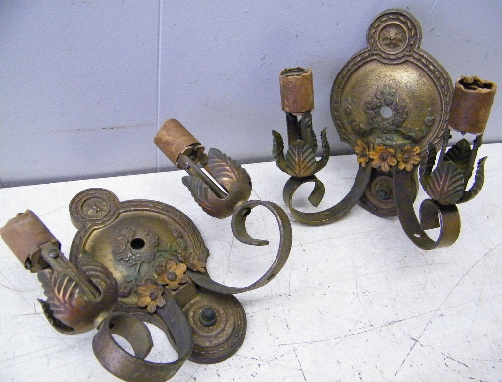 Vintage Pair Cast Iron Art Deco Wall Sconces for Parts Use