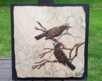 Johannes Wilhelmus Van Dartelen Copper Bird Art Fossilized Stone