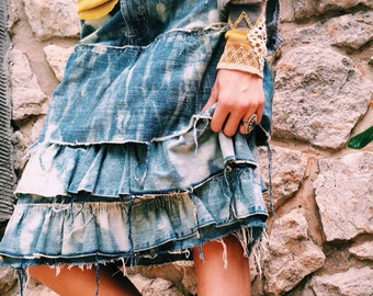 Destroyed ruffle jean skirt