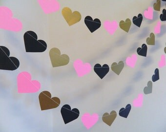 Bridal Shower Decorations / 10ft PARIS Party Decoration / Victoria's Secret Inspired Garland / 10ft Heart Garland / your color and size
