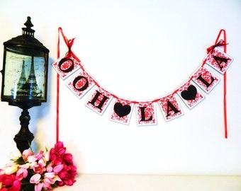Bridal Shower Decorations - Red and Black Ooh La La Banner - Lingerie Party Sign or Bachelorette Party Banner - Your Color choices