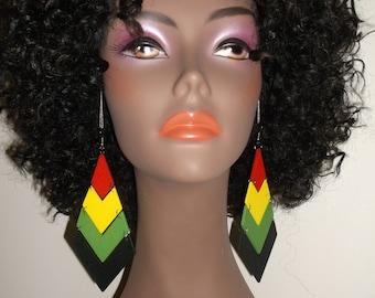 Unique Design Rasta Chevron Dangle Earrings, Rasta Earrings, Hand Crafted Rasta Wooden Earrings, Jamaican Style