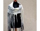 Woven felt blanket scarf with dreads. Wool shawl. Lattice felted shawl. Urban chunky extra long scarf with dread fringe. Felted wool.