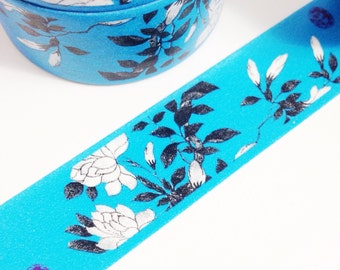 Dark Aqua Blue with Black and White Floral Washi Tape 11 yards 10 meters 20mm Black and White Aqua Tape