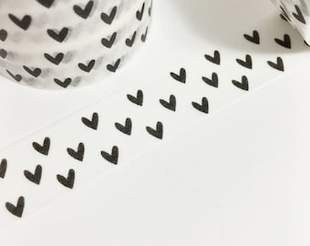 Black and White Tiny Hearts Washi Tape 11yards 10meters 15mm