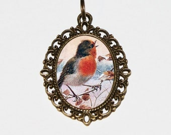 Robin Necklace, Bird Jewelry, Robins, Spring, Summer, Robin Jewelry, Oval Pendant