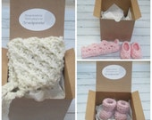 Pregnancy/Birth/Gender Announcement - Knit Roll Cuff Booties, Knit Bonnet, Crochet Crown/Booties- Your Choice