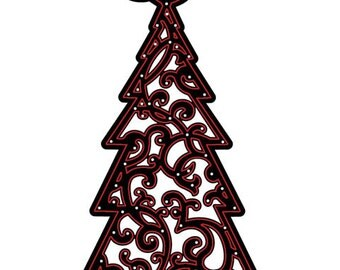CHRISTMAS TREE Die Cut with Embossing Stencil by Darice